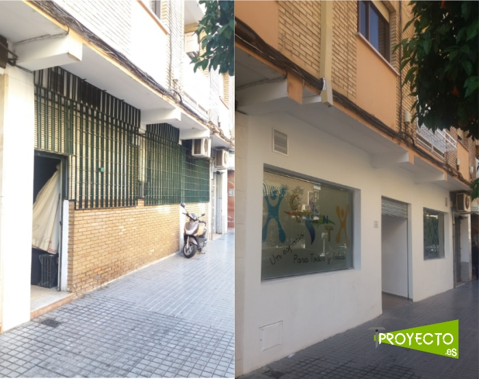 Fachada del local antes y despues de la reforma.