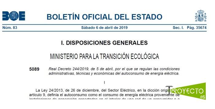 Real decreto 244/2019 Autoconsumo eléctrico